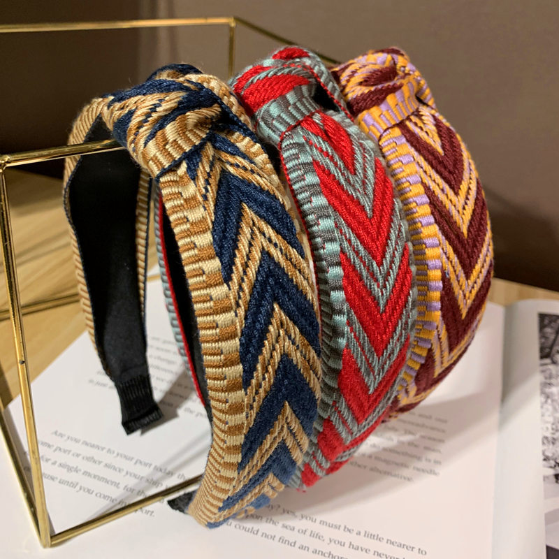 Bohemian Ethnic Knotted Headband Geometric Knot Hairband For Women Girls Hair Accessories Hair Jewelry