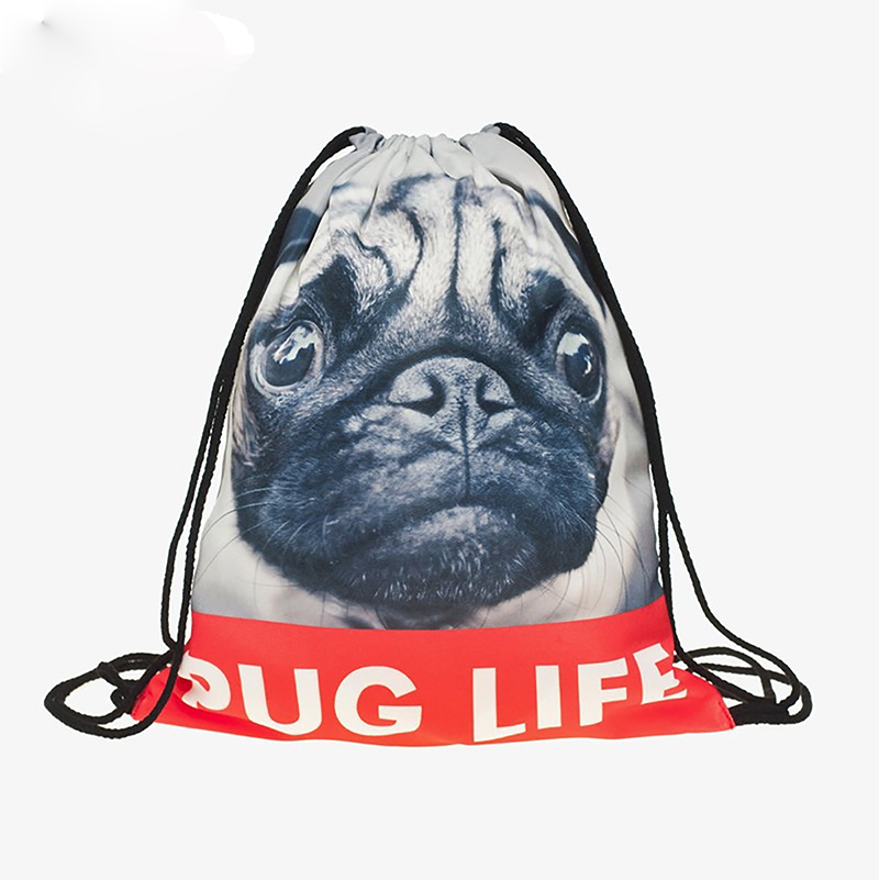 Backpack Drawstring BAGS Drawstring Fashion 3D Printing  Travel Softback Men Bags Unisex Women's Shoulder Bag Knapsack Puppy New