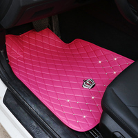 car mats floor carpet for women all weather waterproof pink black diamond full set car interior accessories bling universal use