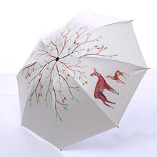New Creative Deer Umbrella Rain Women Windproof Ultralight Sun Folding Umbrellas Lady parasol