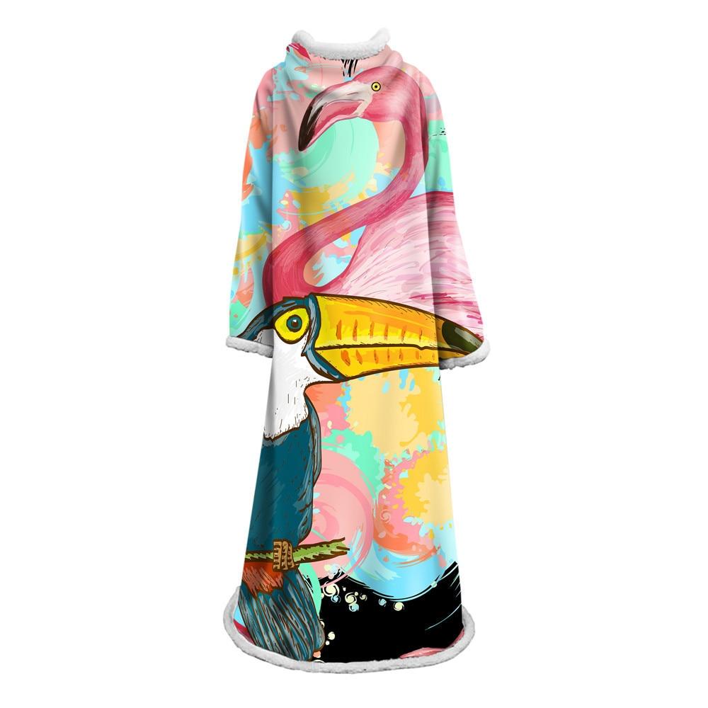 Couverture à manches doudou Flamingo couverture paresseux couette Wrap couverture pondérée douce adulte jeter couverture avec manche