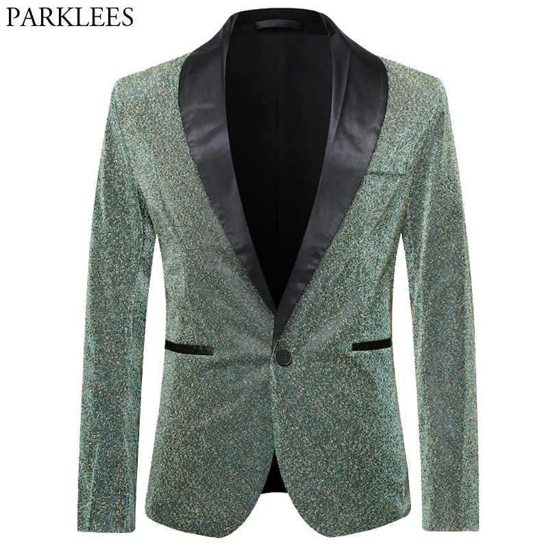 Glitter Blazer Men Silk Sparkle Mens Dress Blazers Men Club Blazer Stage Blazers Mens Tuxedo Clothes Performer Suit Hombre Green
