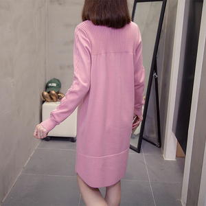 Image 3 - plus size sweater dress autumn winter korean loose solid ladies pullover knitted long sweaters oversize Stretchy knitwear jumper