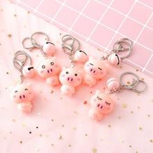2019 New Lovely PVC Pink Pig Keychain Keyring For Women Girl Jewelry Animal Doll Bell Cute Car Key Holder Best Friend Gi