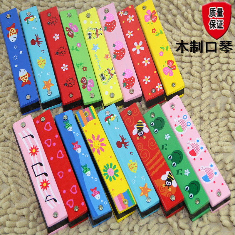 Special Offer Wooden Harmonica Wood Cartoon Harmonica Double Row Sixteen Hole CHILDREN'S Musical Instrument ENLIGHTEN Toy Kinder