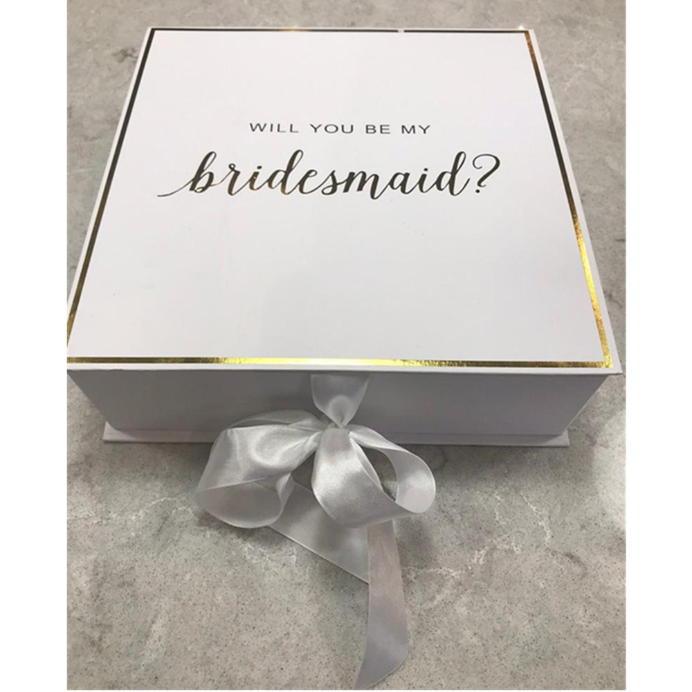 Foil Gold Will You Be My Bridesmaid Boxes Custom Silk Bow Wedding Thank You Gift Box Bachelorette Maid Of Honor Proposal Packing