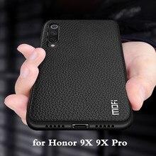 MOFi dla honoru 9X przypadku 9X Pro pokrywa dla Huawei Honor 9X tylna obudowa Honor9x Coque TPU PU skóra miękka silikon pełna