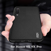 Mofi Voor Honor 9X Case 9X Pro Cover Voor Huawei Honor 9X Terug Behuizing Honor9x Coque Tpu Pu Leer Zacht siliconen Volledige