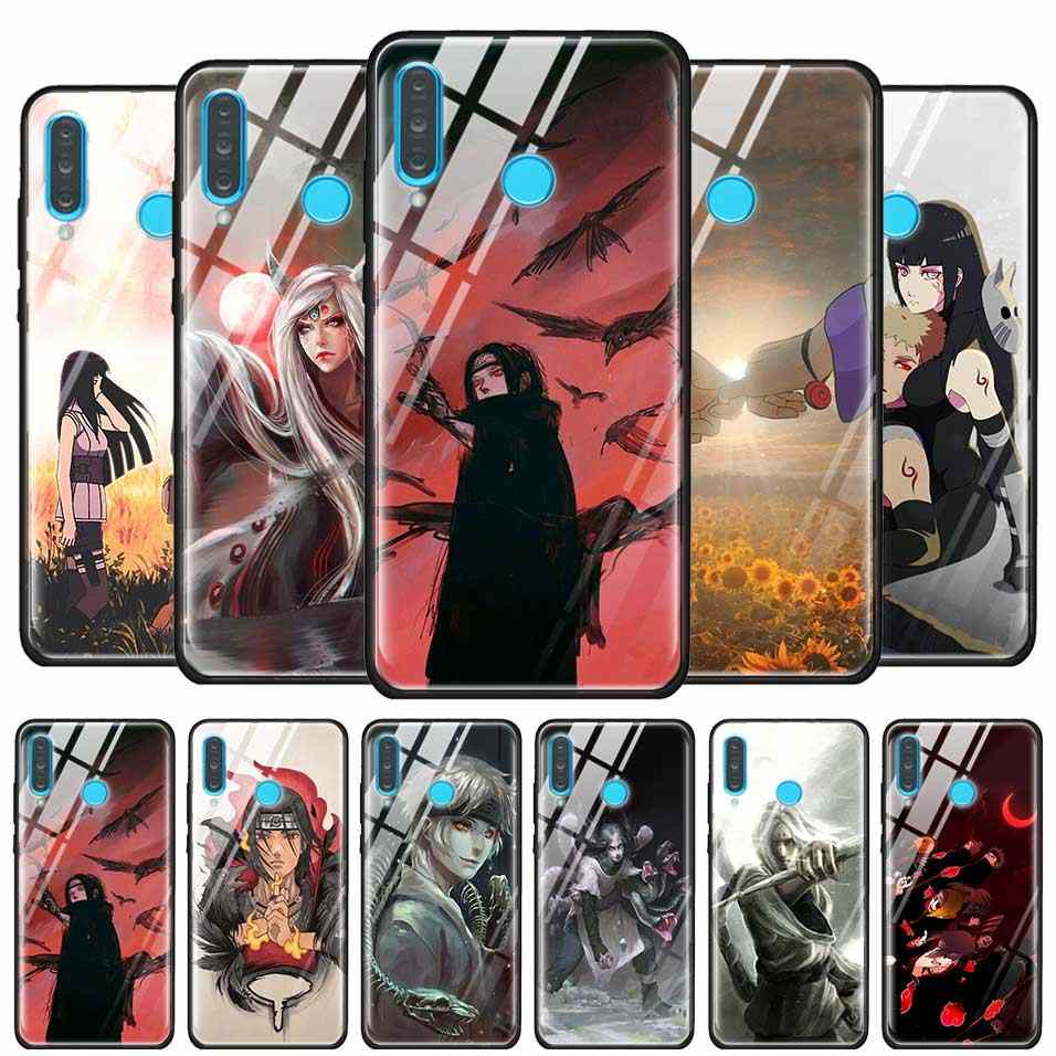 Tempered Glass Back Shell for Huawei P10 P20 P30 Mate 10 20 30 Lite Pro Case for Honor 8X Silicone Edge Case Naruto Itachi Uchih