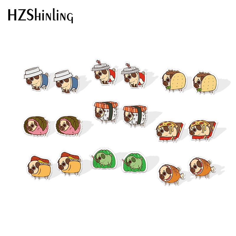 2019 New Pug Sushi Resin Earrings Epoxy Acrylic Earring Kawaii Dog Food Shrinky Dinks Earrings Animal Cute Jewelry