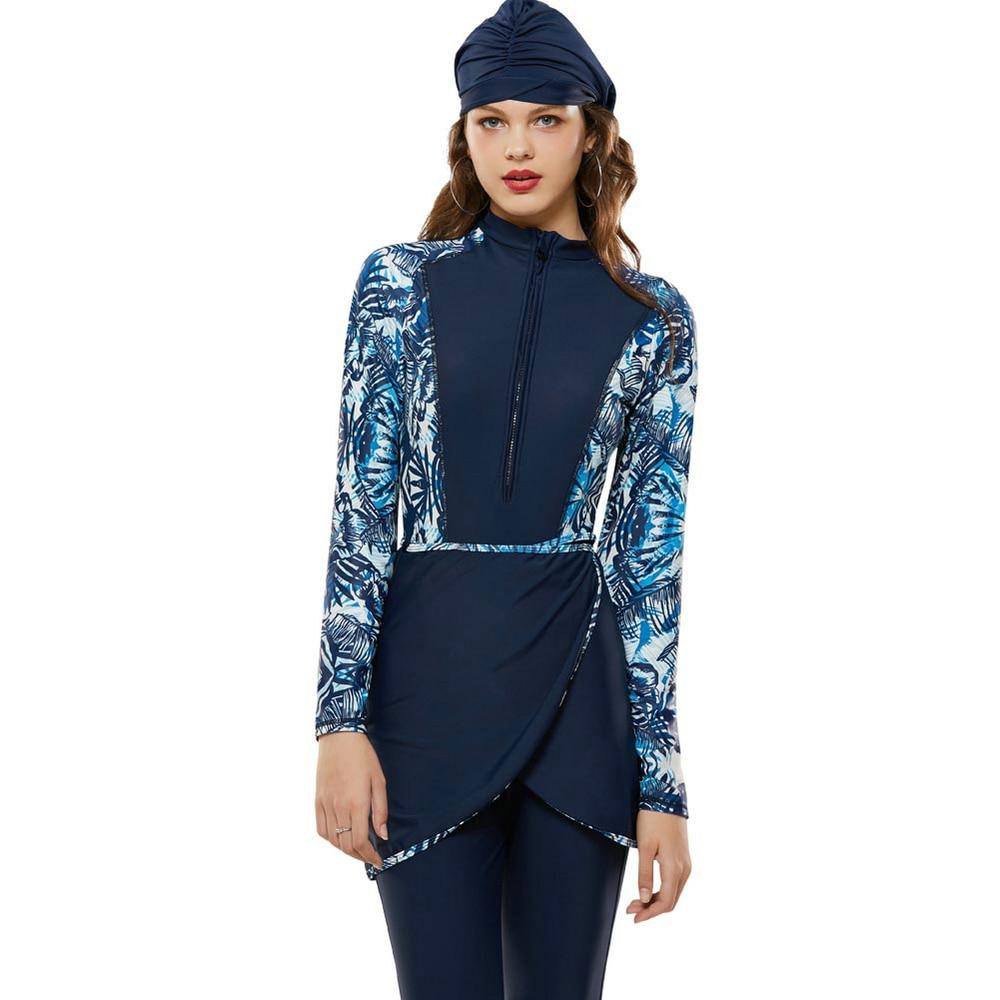Women's Swimming Muslim Swimwear Wear Beach Islamic Swimsuit Women 2019 Four Piece Set Burkinis Suit Islamic Swim New Solid
