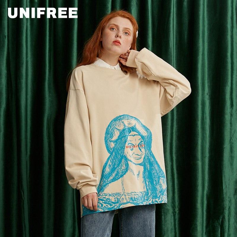UNIFREE Creative T-shirt Personality Pattern Loose Head Long Sleeve Women 2020 New U194G903PP