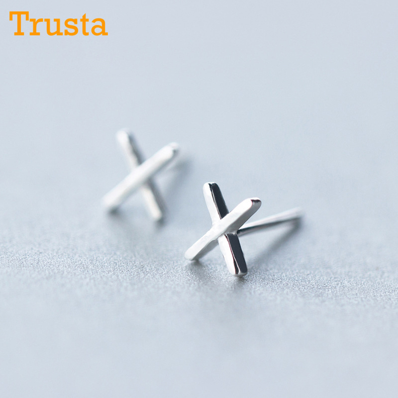 Trusta 2018 100% 925 Sterling Silver Jewelry Fashion Cute Tiny 6mmX5mm Letter X Stud Earrings Gift For Girls Kids Lady DS408