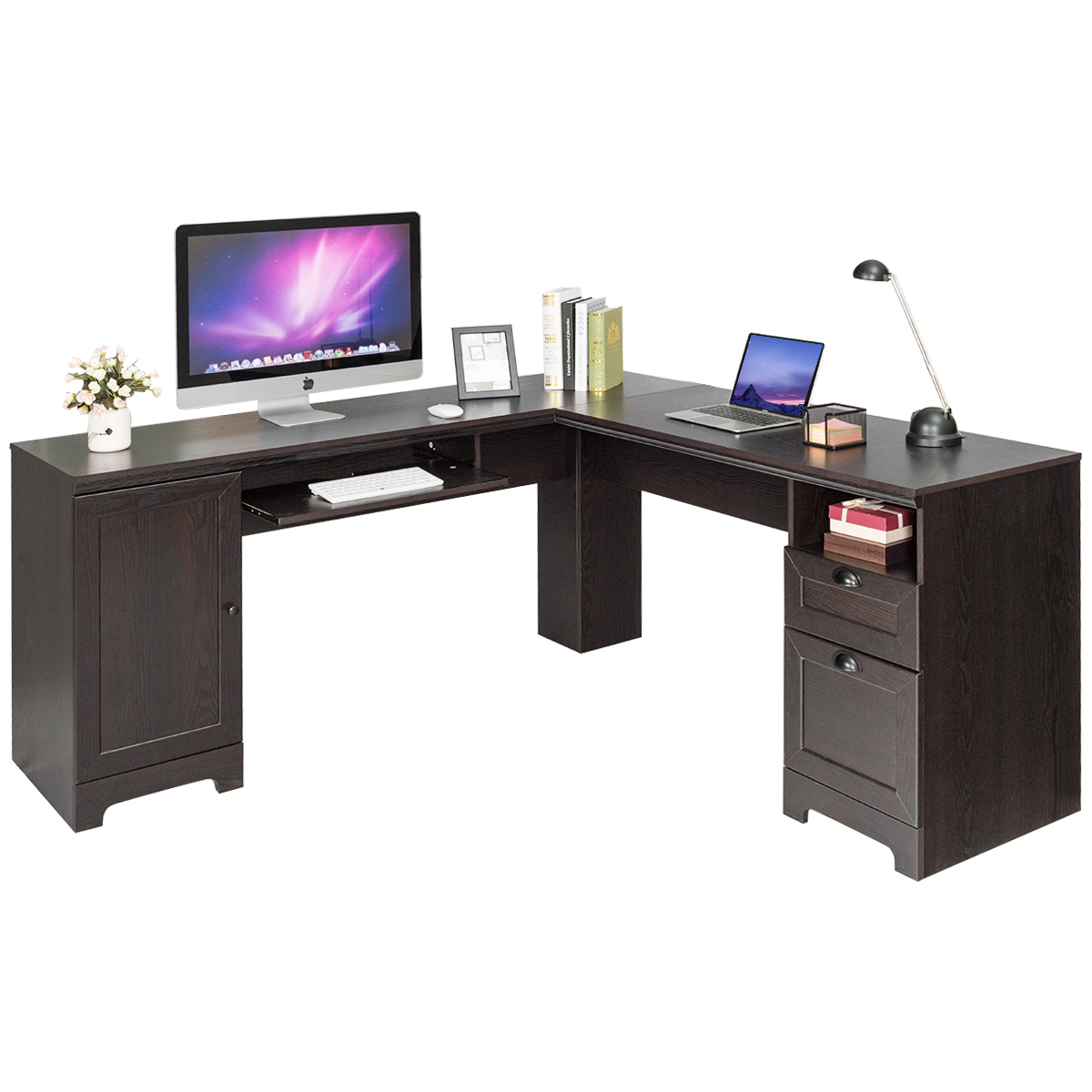 Costway L-Shaped Corner Computer Desk Writing Table Study Workstation Drawers