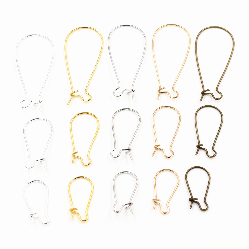 100pcs/Lot 9x18mm/11x24mm/16x38mm Silver Color /Rhodium/Gold Color Earring Hooks Earring Ear Wires Findings DIY Jewelry Making