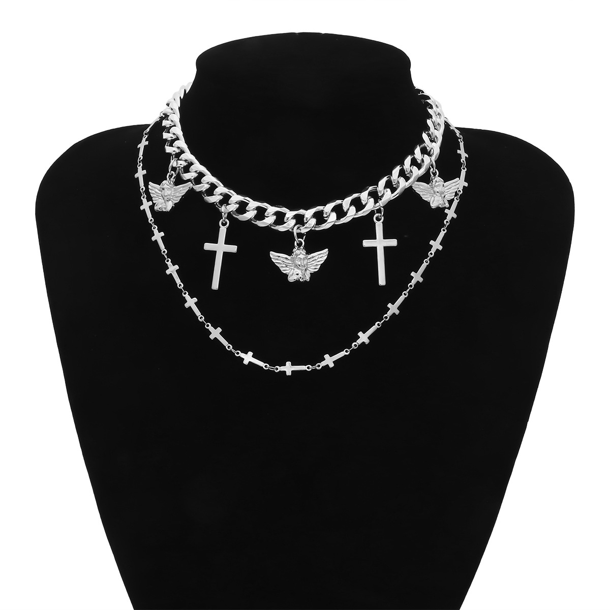 Cross Angel Necklace Pendant Layered Necklace Chains Chokers Necklaces