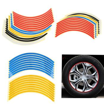 8 Pieces Motorcycle Car Wheel Sticker Wheel Ring Rim Universal Waterproof Wheel Rim Reflective Stickers Bike Tire Decoration image
