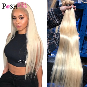 POSH BABE Straight Human Hair Bundles Weave 28 30 32 34 36 38 40 inch 613 Blonde Malaysian Hair Remy 1 3 4 Bundles Free Shipping(China)
