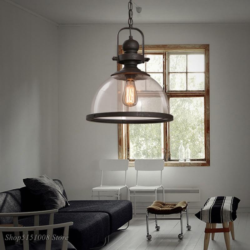 Лофт винтажные железные подвесные светильники промышленный Декор Подвесная лампа для столовой кухни дома осветительные приборы стеклянны... - 6