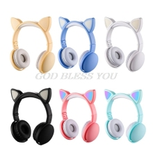 Child LED Flashing Cat Ear Headset Wireless Bluetooth Music Headphones Kids Gift Drop Shipping