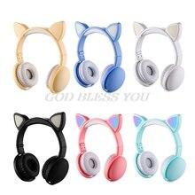 ילד LED מהבהב חתול אוזן אוזניות אלחוטי Bluetooth מוסיקה אוזניות ילדי מתנה