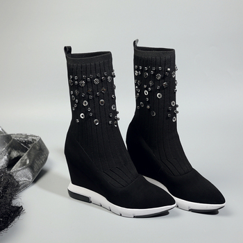 Spring Autumn Ankle Boots Women Platform Boots Rubber Sole Buckle Black Leather Suede High Heels  Woman Comfortable Shoes