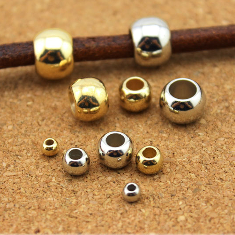 100pcs Dia 4 6 8 10 12mm Big Hole Beads Rose Gold Rhodium Color Spacer Beads For Diy Jewelry Making CCB (not Metal ) Accessories