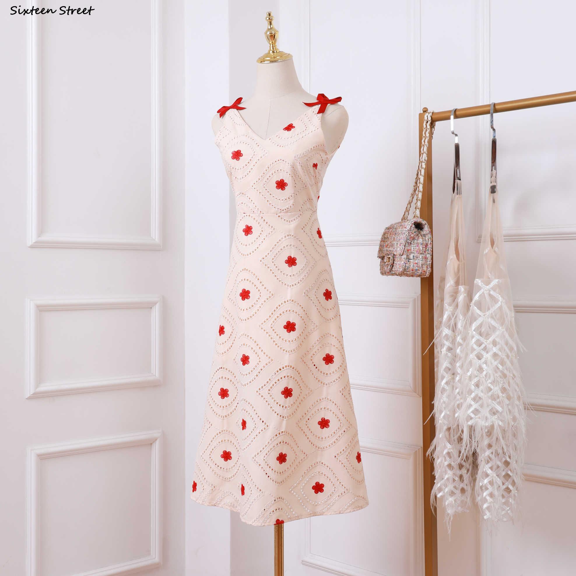 2020 夏アプリコット v ネックドレス女性の花ノースリーブ滑走路デザイン vestido 自己ドレス女性