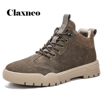 CLAXNEO Man Ankle Boots Fashion Suede Leather Shoe Male Winter Boot Fur Warm Snow Shoe clax Men's Walking Footwear