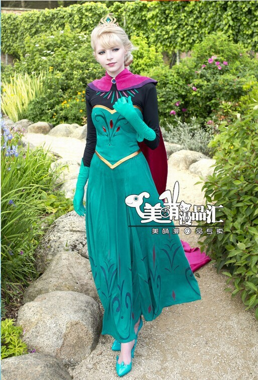 New adult elsa costume Snow Queen Elsa Outfit Coronation Dress Cosplay adult Costume long dress Free Crown