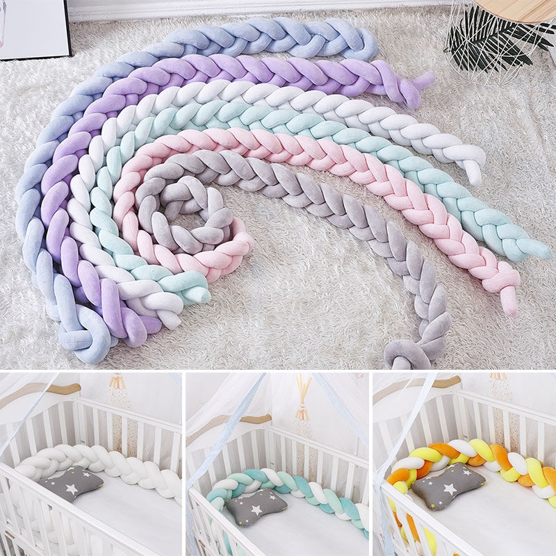 New Arrival 10-18 Twist Knot Baby Bed Bumper 1.5/2/3M Fashionable Crib Stroller Accessories Children's Bed Protector Room Decor