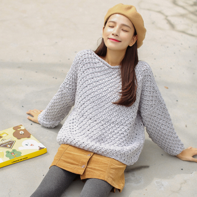 Ailegogo New Autumn Winter Women Knitted Pullovers Casual Female White O-neck Loose Sweater Solid Color Ladies Knitwear Tops 3