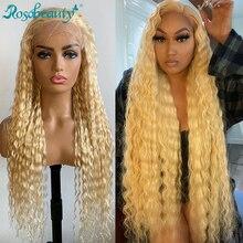 Rosabeauty głęboka fala przejrzyste 613 blond brazylijski 13x4 koronki przodu włosów ludzkich peruk PrePlucked Remy przednie peruki 150 gęstości