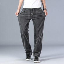 2021 Spring and Summer New Men's Gray Thin Jeans Advanced Stretch Loose Straight Denim Trousers Male Plus Size 40 42 44 Brand