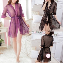 Women Robe Lace Kimono Babydoll Lingerie With Belt Nightwear Sheer Nightgown New lace panel ruffles mesh sheer slip babydoll
