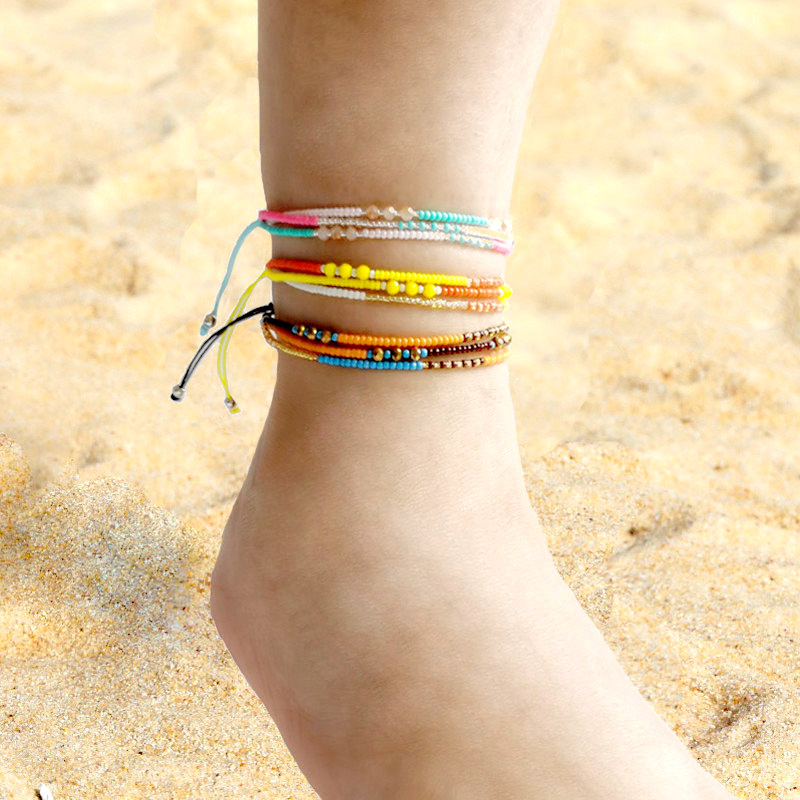 Bohemian Seed Bead Beach Charm Ankle Bracelet Fashion Rainbow Adjustable Anklet Foot Jewelry Ocean Gift For Women