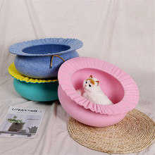 Pet Bed Flower Shaped Felt Cat Nest House Four Seasons Universal Warm Lightweight Portable 5