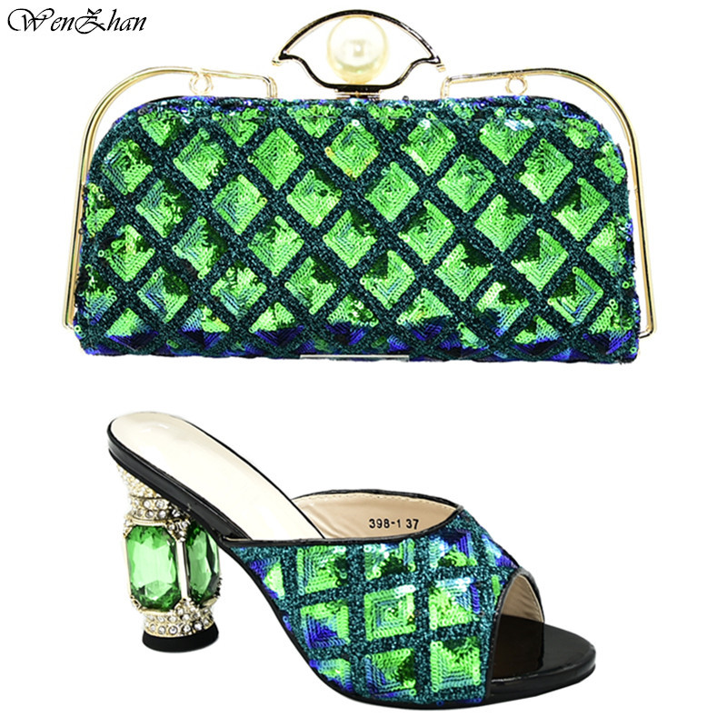Green Shoes Woman With Matching Bags Latest Sequins African Wedding Women Shoes And Bags Set 37-42 WENZHAN D99-20
