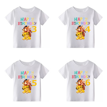 2019 Children Lion King Birthday Number 1-10 Cartoon Print T-shirt Boys Girls Cute Simba Funny T Shirt Kids Clothes