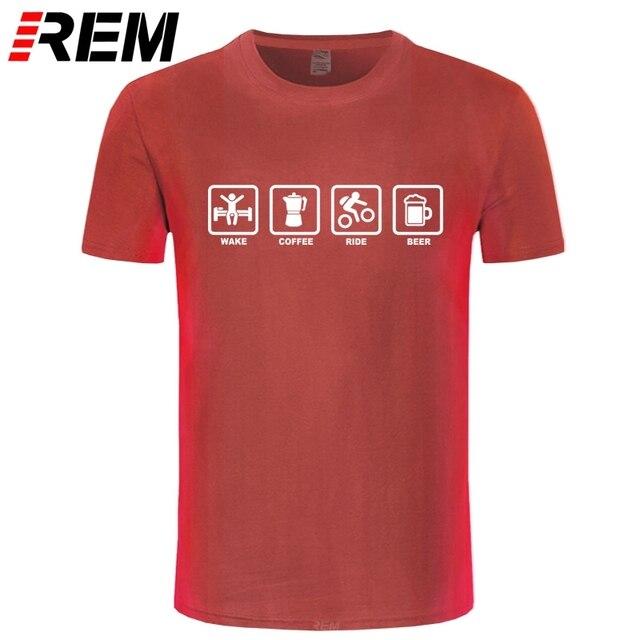 REM Brand Clothing Wake Coffee Rider Beer Bicycle Funny T Shirt Tshirt Men Cotton Short Sleeve T-shirt Top Camiseta