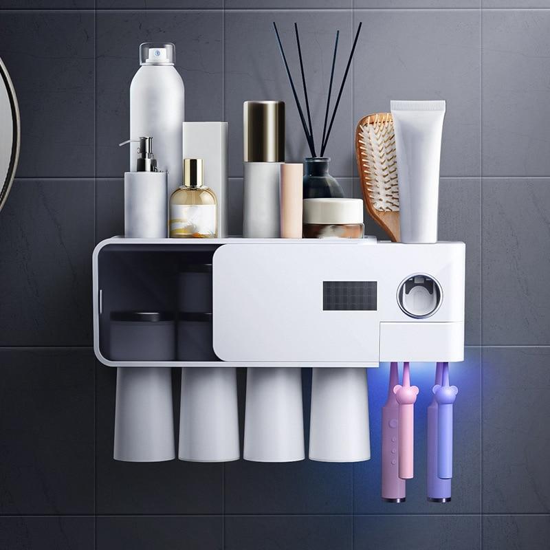 Wall Mount ligent Toothbrush Disinfector Free Punch Ultraviolet Toothbrush Holder Cups Hanging Rack Bathroom Shelf