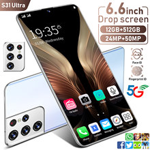 2021 Newest S31 Ultra 12+512GB SmartPhone 6.6 Inch 24+48MP Strong 10 Core Processor Face Fingerprint Dual Unlock 5G Mobile Phone