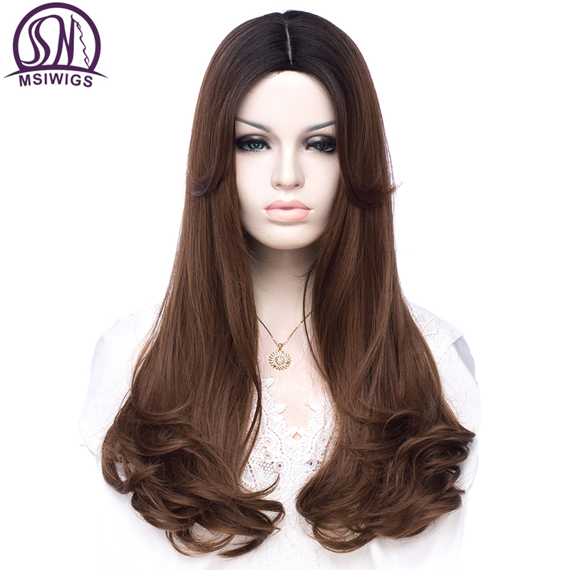 MSIWIGS Women Long Wavy Hair Synthetic Wigs Brown Mixed Black Ombre Pink Grey Wig High Temperature Fiber