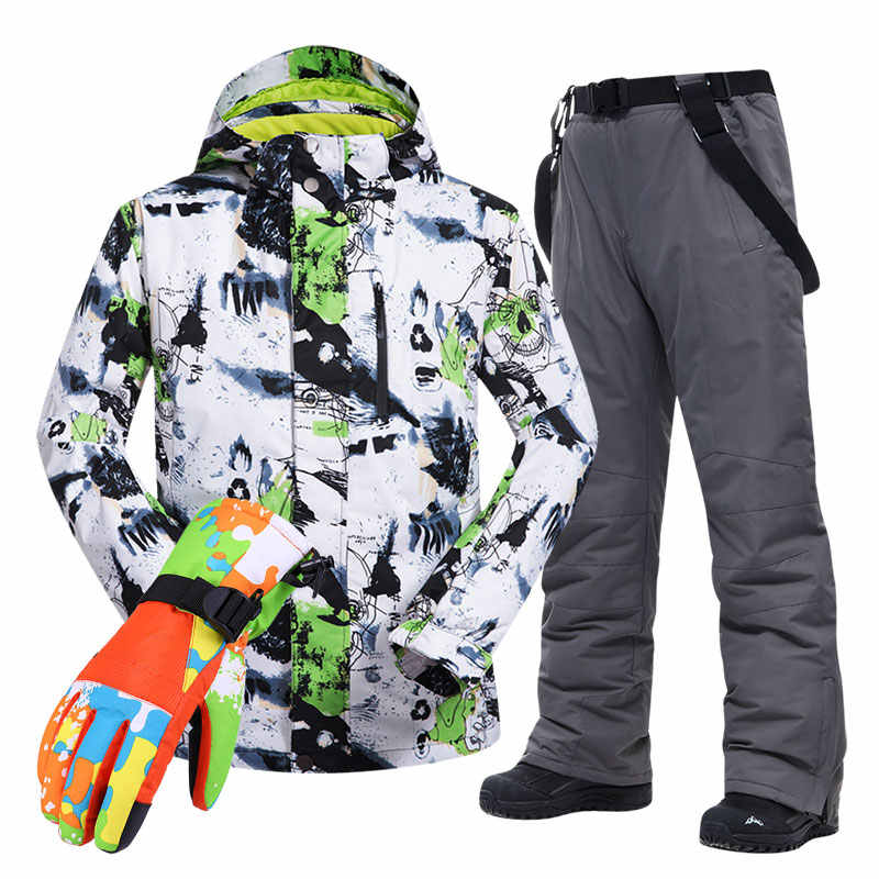 Große größe männer ski anzug-30 temperatur wasserdicht winddicht warme winter bergsteigen skifahren radfahren jacken und hosen set
