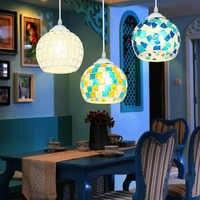 Estilo bohemio colorido mosaico de cristal de concha colgante luz café restaurante lámpara