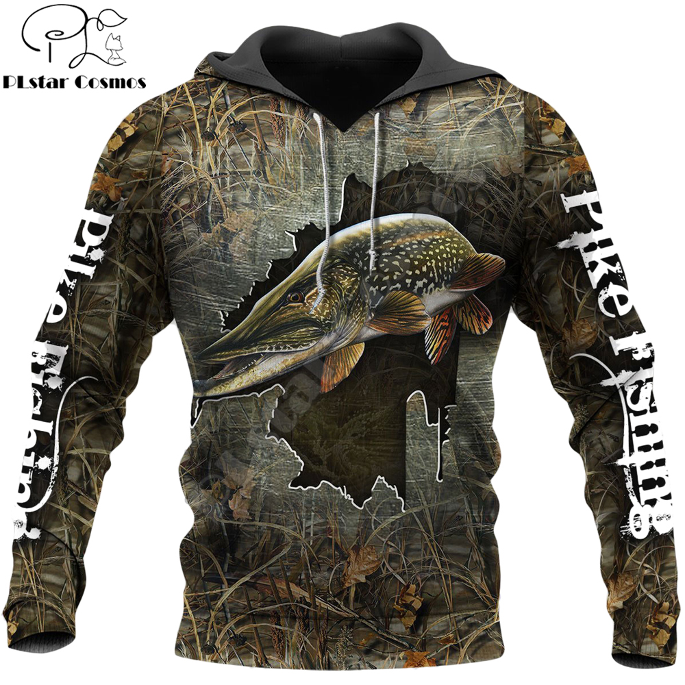 Cool Pike Fishing 3D Printed Men Hoodie Harajuku Streetwear Pullover Autumn Sweatshirt Unisex Casual Jacket Tracksuits Plus Size