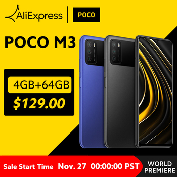In Stock Global Version POCO M3 Smartphone Snapdragon 662 Octa Core 4GB RAM 64GB ROM 6000mAh Battery Mobile Phone 48MP Camera