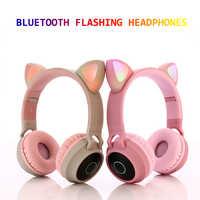 Nova chegada led gato orelha com cancelamento de ruído fones de ouvido bluetooth 5.0 jovens crianças fone de ouvido apoio tf cartão 3.5mm plug com microfone
