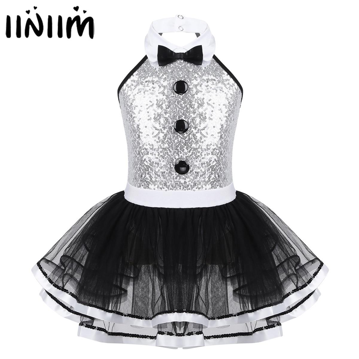 Kids Girls Sequins Leotards Gymnastics Professional Ballet Tutu Dress Modern Lyrical Dancing Costume Girls Ballerina Dance Wear