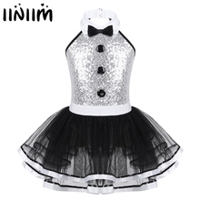 Kids Girls Sequins Leotards Gymnastics Professional Ballet Tutu Dress Modern Lyrical Dancing Costume Girls Ballerina Dance Wear